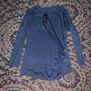 Sweaters - Blue Sweater with Buttons